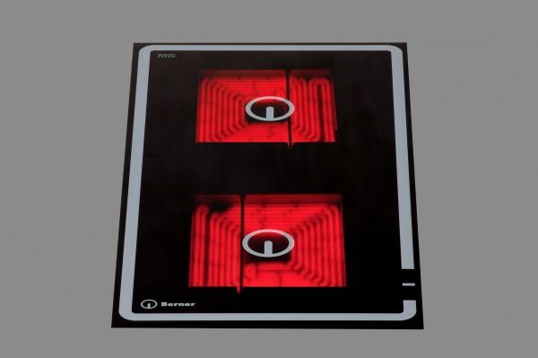 Berner BS2CEGP Quadratplatten-Einbaukochfeld mit 2 Kochzonen zu 3 kW