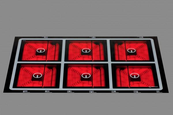 Berner BS6CEGA Großküchen-Glaskeramikkochfeld mit 6 Quadratplatten - 24.000 Watt