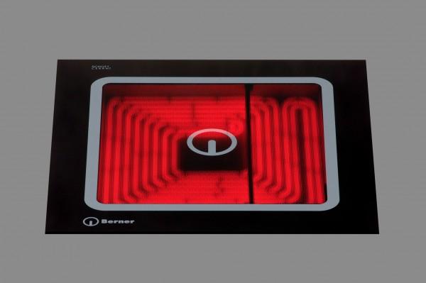 Berner BS1ZEGQ Zweikreis-Ceranfeld für die Gastronomie mit einer Quadratplatte