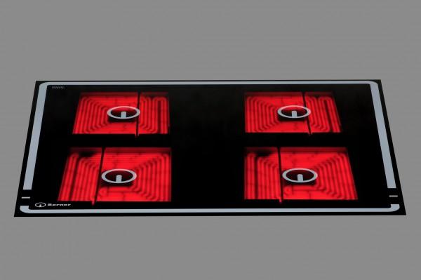 Berner BS4CESSB Quadratplatten-Glaskeramikherd mit automatischer Topferkennung - 4 Kochzonen - 14 kW