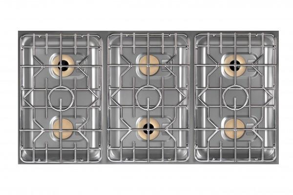 Berner BEG6D70BB 6-Kochzonen Einbaugaskochfeld für Gastrokücheninseln beidseitig bedienbar