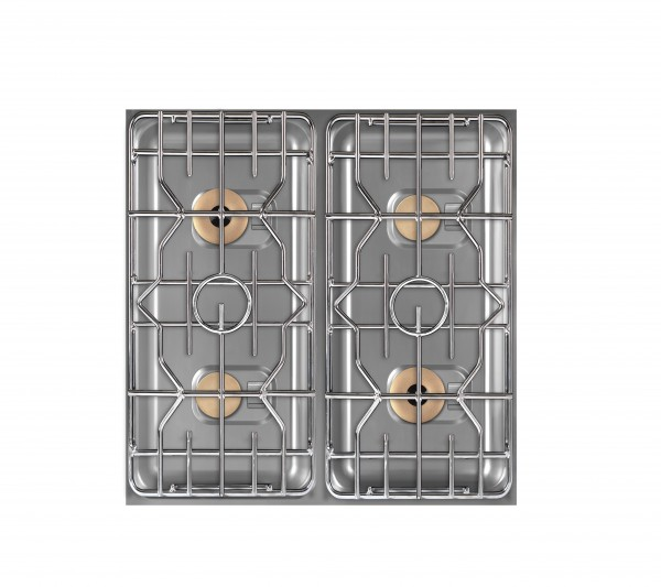 Berner BEG4D85BB Vierer-Gastronomiegasherd mit beidseitiger Bedienung als Einbaugerät