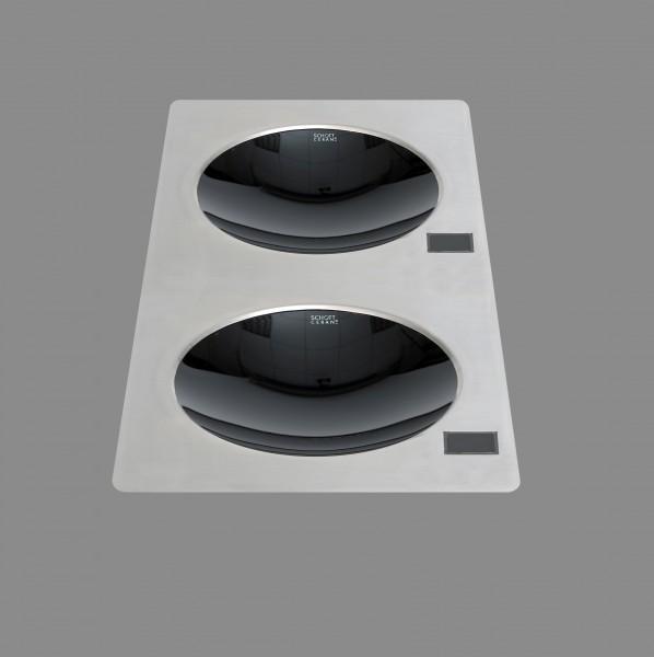 Berner BWEB2M7 Doppeleinbauwok Induktion mit 2 x 3.500 Watt für Asiaküchen und Frontcooking