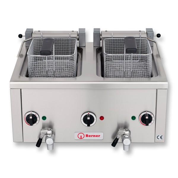 Berner BFSSNK2 Elektro Fritteuse Snack Auftisch Fritteuse 2x6 Liter Frittstar