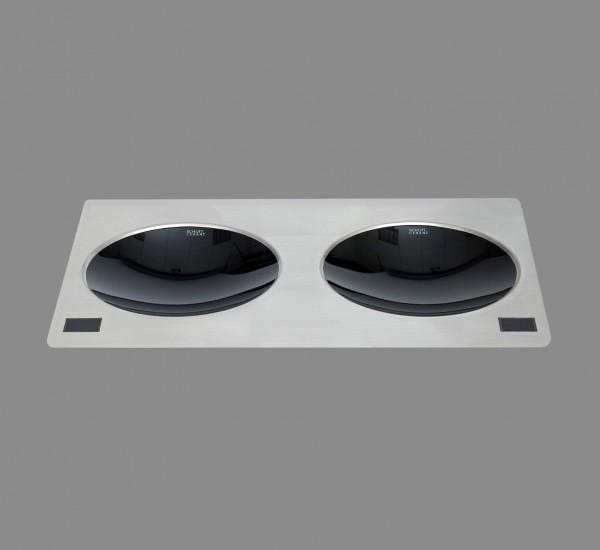 Berner BWEB2MQ5 Induktions-Doppeleinbauwok 2 x 2,5 kW im Querformat für die Gastronmie