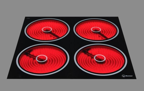 Berner BS4CEGARC Premium-Ceranfeld mit 4 x 4000 Watt und Zweikreis-Automatik
