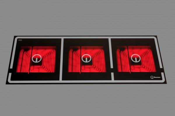 Berner BS3CESSQT 3-flammiges Quadratplatten-Ceranfeld mit Topferkennung