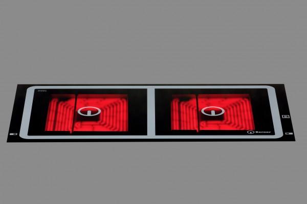 Berner BS2PEGAQT Profieinbaukochfeld Glaskeramik mit 2 Quadratplatten und Topferkennung