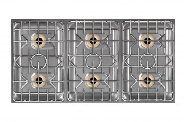 Berner BEG6P70BB 6-Flammen Power-Gasherd für Gastronomieküchen mit beidseitiger Bedienung