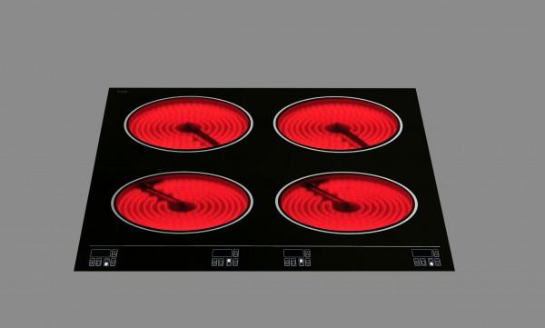 Berner BS4EGSTA 4-flammiges Einbauceranfeld mit Touchcontrol für Gastronomieküchen